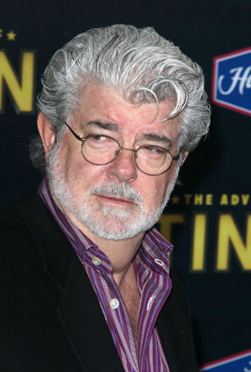 George Lucas at the premiere of Tintin