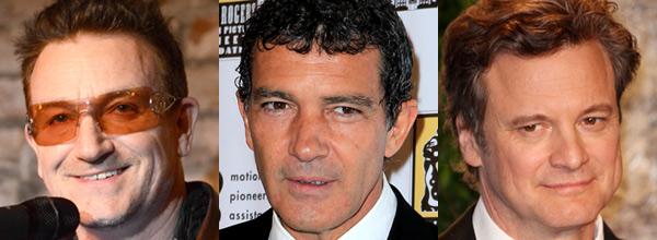 Colin Firth, Antonio Banderas, Bono