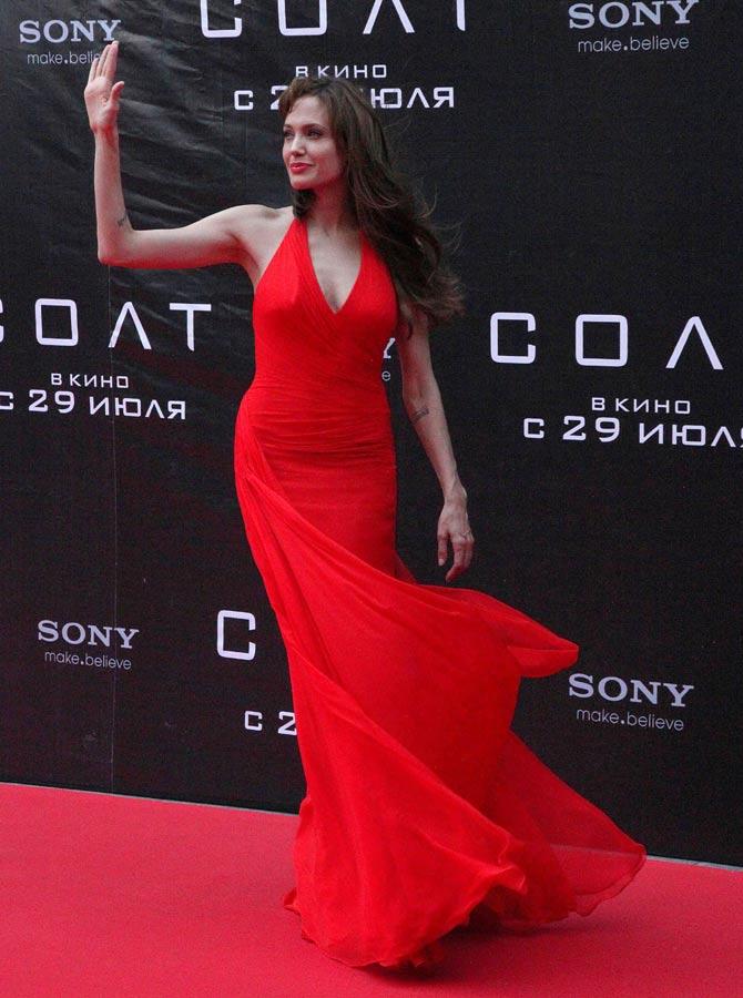 Angelina Jolie at the Salt premiere