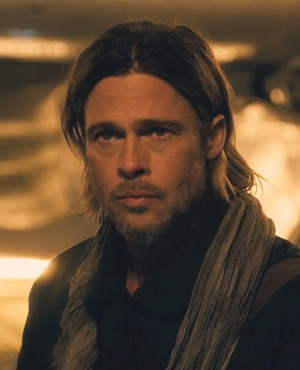 Gerry Lane played by Brad Pitt in World War Z