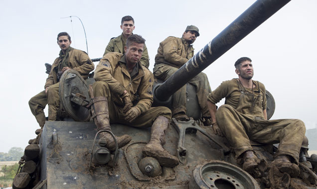 The cast of 'Fury' on set