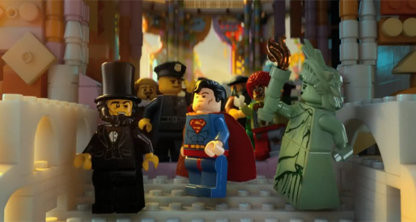 Superman and fellow characters in The Lego Movie