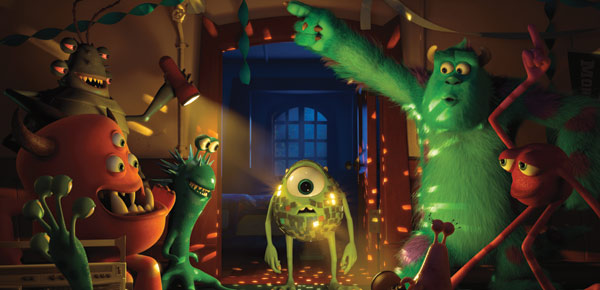 Monsters University Sulley, Mike as a glitter ball and friends