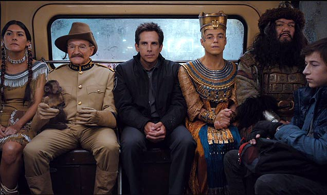 Characters from Night At The Museum: Secret Of The Tomb take a bus ride
