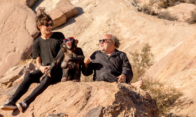 Louis Tomlinson, Danny DeVito and chimpanzee on 'Steal My Girl' set