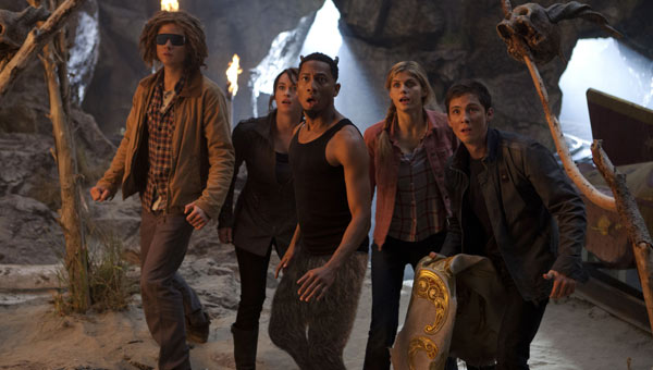 Douglas Smith, Leven Rambin, Brandon T. Jackson, Alexandra Daddario and Logan Lerman in Percy Jackson: Sea of Monsters