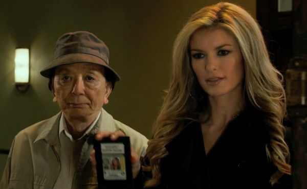 James Hong as Grandpa Chen and Marisa Miller in R.I.P.D