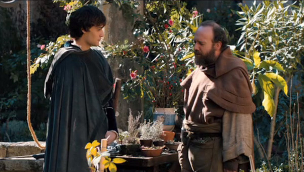Douglas Booth as Romeo and Paul Giamatti as Friar Laurence in Romeo And Juliet