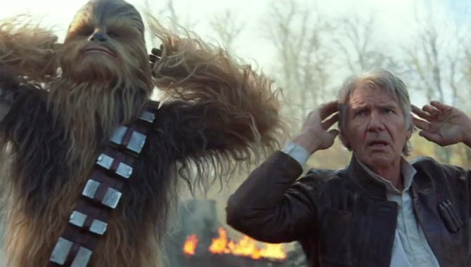 Han Solo and Chewbacca in Star Wars: The Force Awakens
