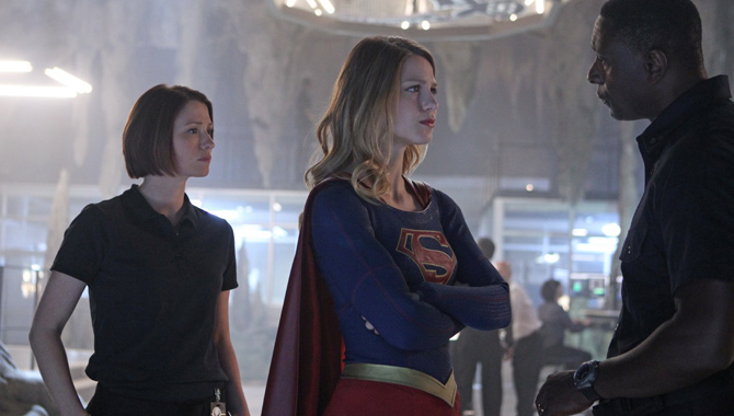 Chyler Leigh, Melissa Benoist and David Harewood in Supergirl