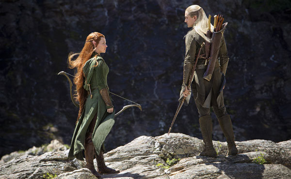 Evangeline Lilly, Orlando Bloom, The Hobbit: The Desolation of Smaug