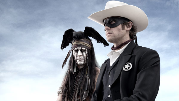 Johnny Depp as Tonto and Armie Hammer as The Lone Ranger AKA John Reid in The Lone Ranger