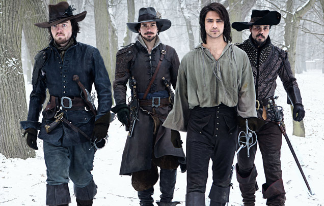 Tom Burke as Athos, Santiago Cabrera as Aramis, Luke Pasqualino as D'Artagnan and Howard Charles as Porthos