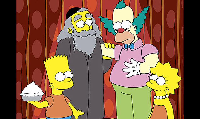 Rabbi Krustofski with Krusty, Bart & Lisa
