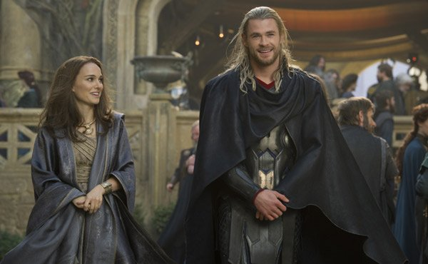 Natalie Portman as Jane Foster and Chris Hemsworth as Thor in Thor: The Dark World