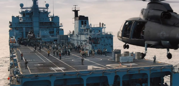 A safe haven on a war ship in the middle of the ocean in World War Z