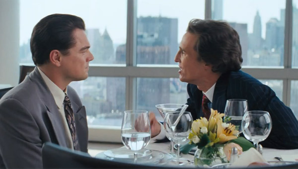 Leonardo DiCaprio as Jordan Belfort and Matthew McConaughey as Mark Hanna in Martin Scorsese's The Wolf of Wall Street