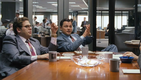 Jonah Hill as Donnie Azoff & Leonardo DiCaprio as Jordan Belfort in The Wolf of Wall Street