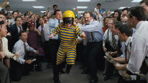 Leonardo DiCaprio as Jordan Belfort throwing a dwarf in The Wolf Of Wall Street