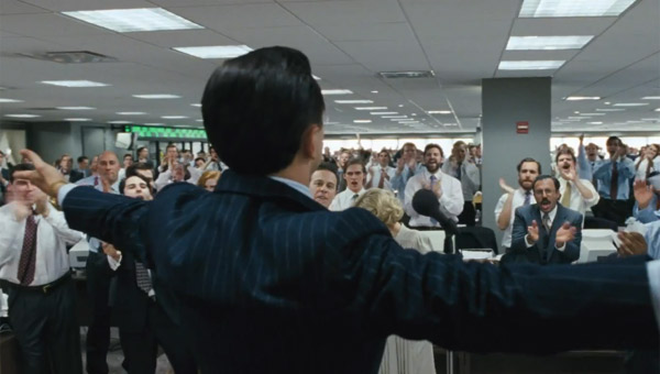 Leonardo DiCaprio as Jordan Belfort in Martin Scorsese's The Wolf of Wall Street