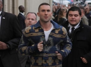Adam Levine Hit By 'Sugar Bomb' While Greeting Fans
