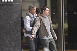George Clooney And Jack O'Connell Look Deadly Serious On The Set Of 'Money Monster'