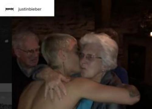Justin Bieber Dances Topless With Elderly Woman