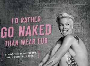 Pink poses nude for PETA on 90-foot Billboard