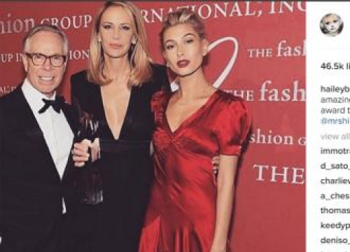 Hailey Baldwin Presents Tommy Hilfiger With Humanitarian Award At 2016 Fashion Group International Night Of Stars Gala