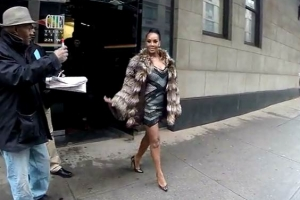 Vivica A. Fox Poses In Fur Outside 'The Wendy Williams Show' Studios