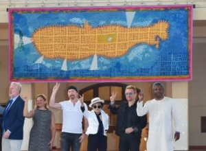Ono And Bono Unveil Tapestry In New York Honouring John Lennon