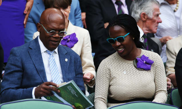 Samuel L Jackson and Sofia David at Wimbledon