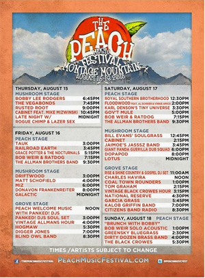 Allman Brothers Band Announce Details And Set Times For The Peach Music Festival 2013