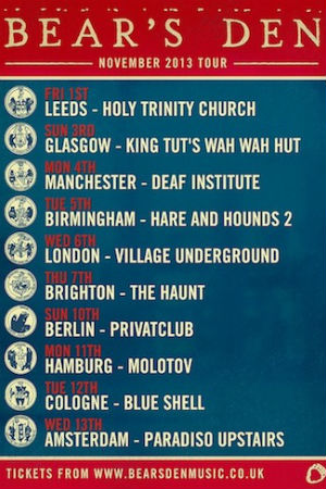 Bear's Den Announce UK And Europe Headline Tour For November 2013