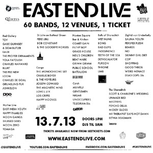 East End Live 2013 - Full Line Up And Venue Details