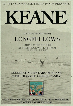 Keane Announce Details Of A Special Fierce Panda Gig On 25th October 2013