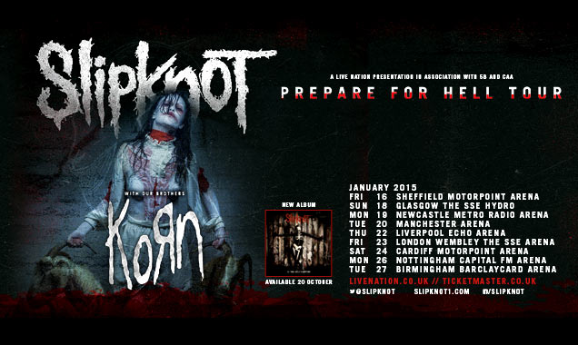 Slipknot Announce January 2015 'Prepare For Hell' UK Tour Dates With Special Guests Korn