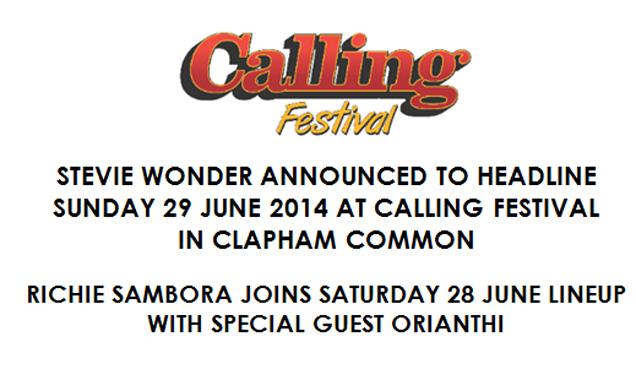 Stevie Wonder Confirmed To Headline Sunday 29th June 2014 At Calling Festival