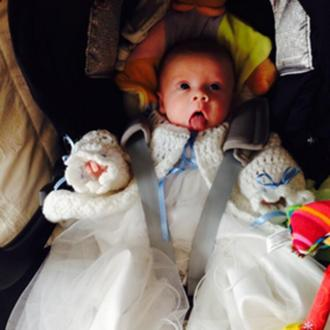 Michelle Heaton christens son