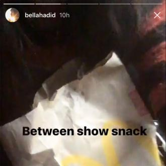 Bella Hadid's 'between show snack' is McDonald's chicken nuggets