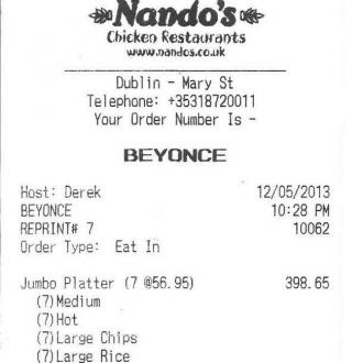 Beyonce's £740 Chicken Feast