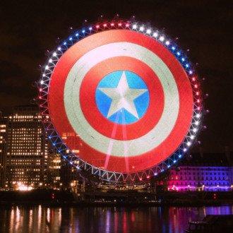 Captain America's shield appears on the London Eye