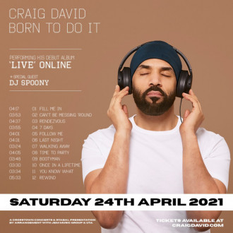 Craig David announces Born To Do It live-stream
