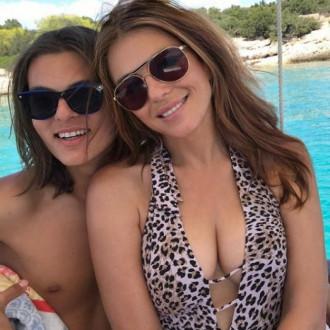 Elizabeth Hurley takes bikini self tips from son Damian