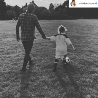 David Beckham gives Harper first football lesson