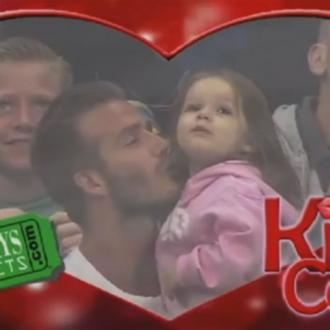 David Beckham And Harper Appear On Kisscam