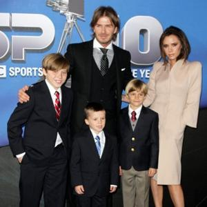 David Beckham Gets Sons' Help