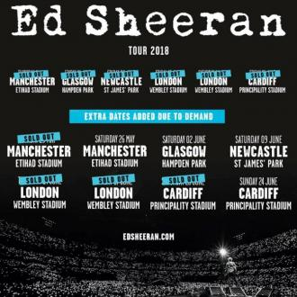 Ed Sheeran adds extra UK stadium dates