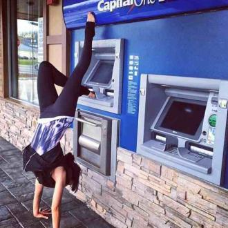 Hilaria Baldwin's Handstand At Cash Machine