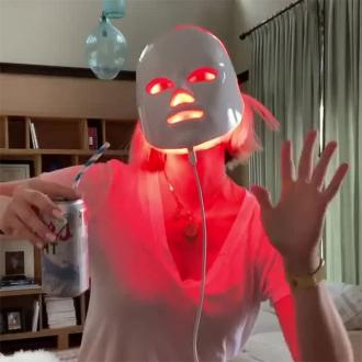January Jones tries light therapy mask